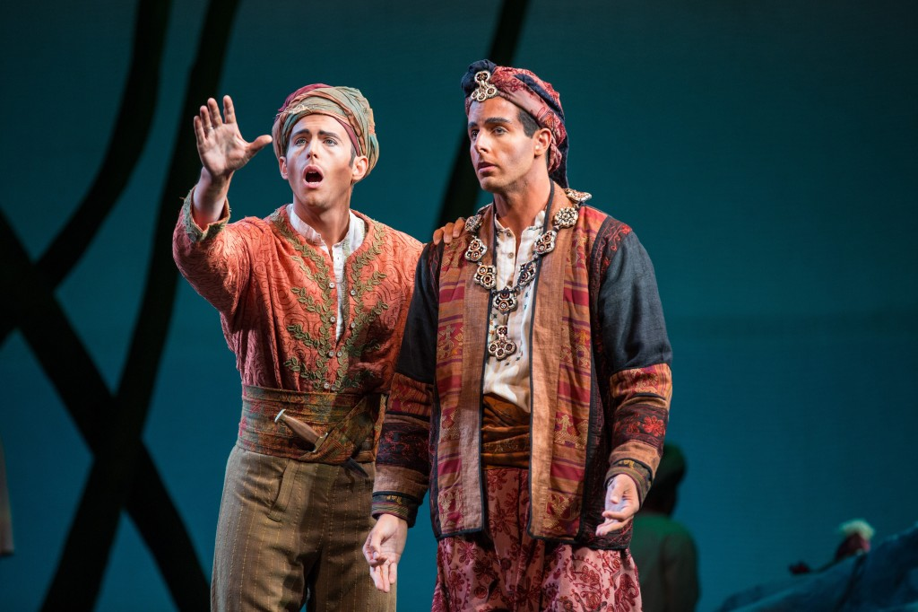 Tenor Heath Huberg as Nadir and baritone Lee Poulis as Zurga in THE PEARL FISHERS.  Photo by Rod Millington and Sarasota Opera