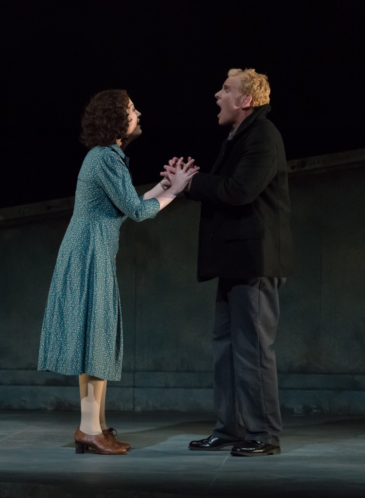 Sinead Mulhern (Ellen) and Roger Honeywell (Peter) about to share one awkward kiss in DMMO's production of Britten's Peter Grimes