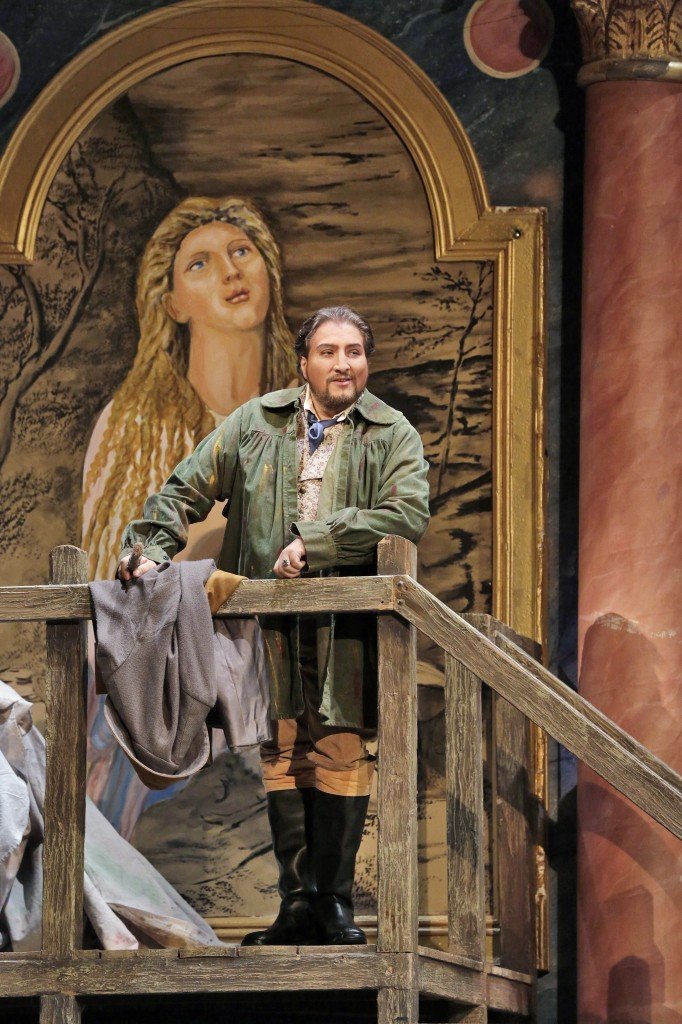 Mario Cavaradossi (Massimiliano Pisapia) muses over the beauty of his beloved Tosca. Photo by Ken Howard