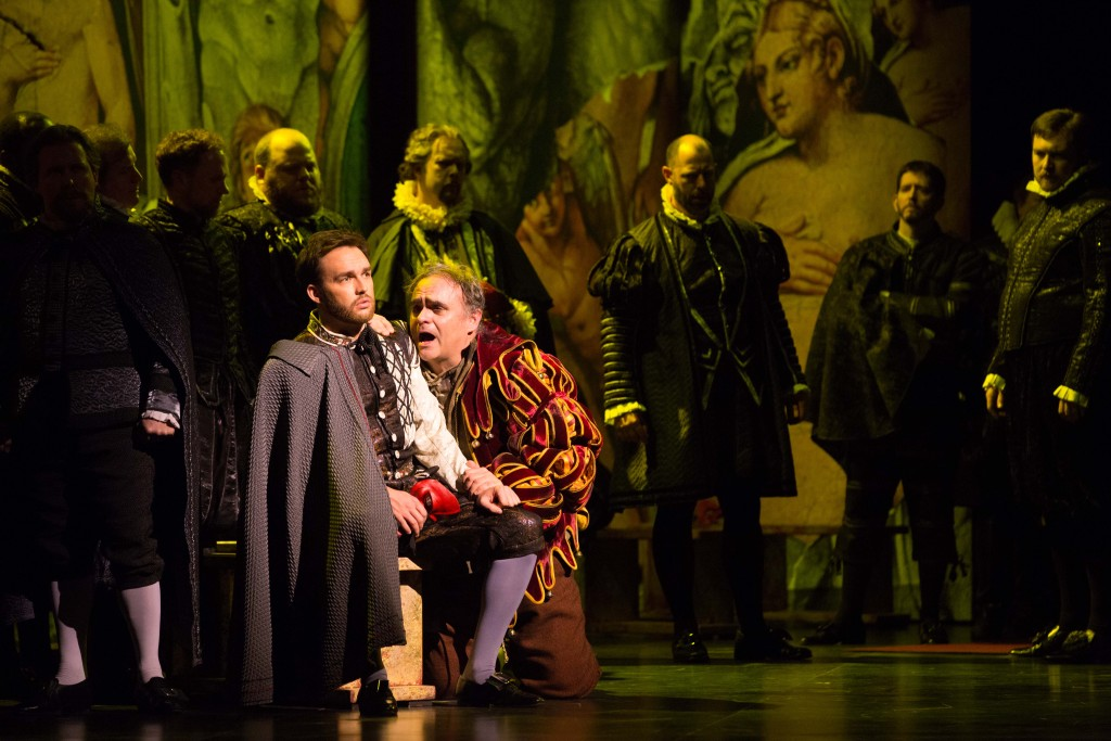 Adam Cannedy as Marullo and Todd Thomas as Rigoletto. Photo by Jeff Roffman