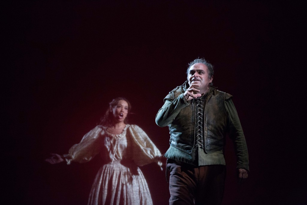 Nadine Sierra as Gilda and Todd Thomas as Rigoletto. Photo by Jeff Roffman