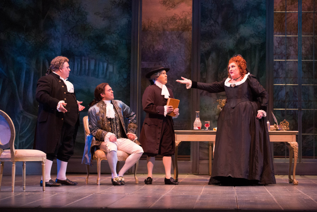 Bruno Pratico (Bartolo), John Moore (The Count Almaviva), Adam Kirkpatrick (Don Curzio), Victoria Livengood (Marcellina), Photo credit: Jeff Roffman