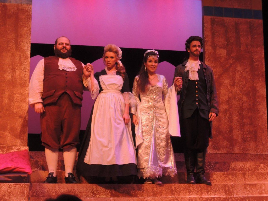 William Green as Predillo, Vaitlin Andrews as Blonde, Megan Brunning as Constanza, and Matthew Talley as Belmont.  Photo by John Arnold