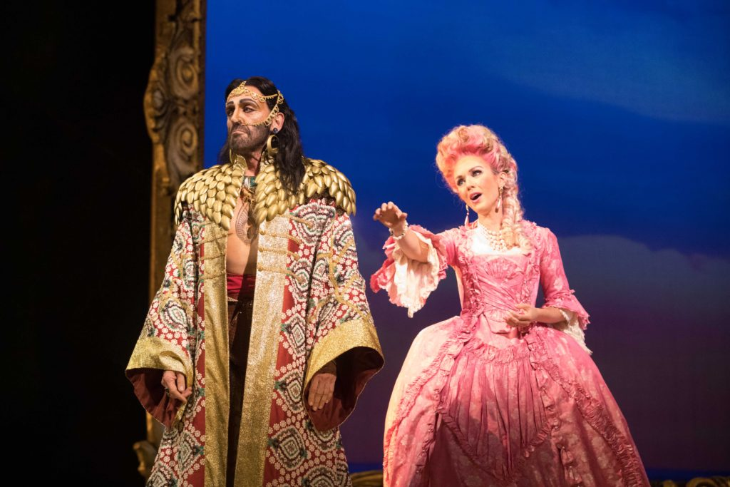 Tom Key (Pasha Selim) and Sarah Coburn (Konstanze). Photo by Jeff Roffman